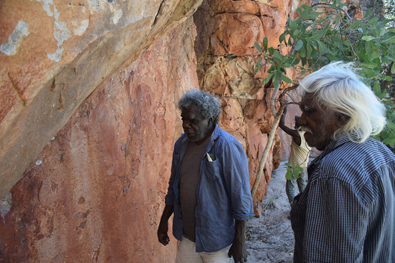 Custodians viewing some of the rock art at West Lost City