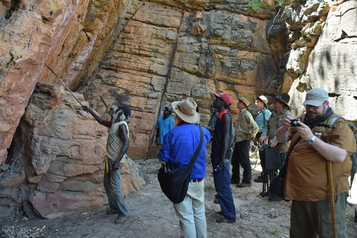 Discussing the rock art at West Lost City